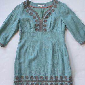 BODEN Linen 3/4 Sleeve Shift Dress